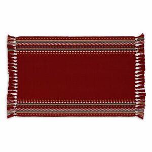 Design Imports RED CHIPOTLE HACIENDA STRIPE FRINGED Cotton Placemat