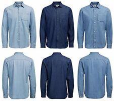 Jack & Jones Mens Casual DESIGNER Summer Denim Shirt Stonewash Bleach Light Wash XLarge