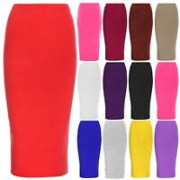 Womens Bodycon Ladies Double Layer Stretchy Long Pencil Tube Office Midi Skirt