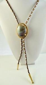 Botswana Agate 40x30 MM Bolo Tie With Tan, Brown & White Leatherette Cord