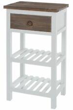 Telefontisch Tisch Holz Rustikal Landhaus Beistelltisch weiß braun Weinregal