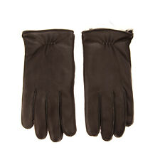 RRP €190 EMPORIO ARMANI Leather Winter Gloves Size L Rabbit Hair Lining Ruched