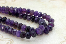 Natural Amethyst, Amethyst Faceted Rondelle Loose Gemstone Stone Beads