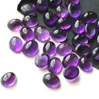 Wholesale Lot of 8x6mm Oval Cabochon Natural Amethyst Loose Calibrated Gemstone