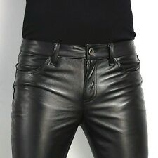Men's Black Slim Fit Genuine Cowhide Leather Jeans Pants Tight Casual Trousers
