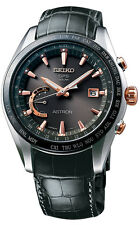 New Seiko Astron Solar GPS Crocodile Strap Men's Watch SSE095