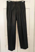 f1291d6fe5da42 Ann Taylor LOFT Womens Black 100% Leather Pants SZ 4P Straight Leg Petite  Lined