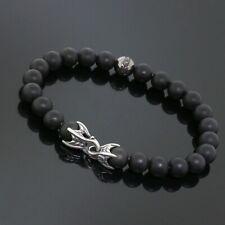 "Yurman Mens Silver Accent 8MM Black Onyx &Diamond Spiritual Beads Bracelet 8.25"""