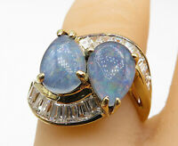 JED 925 Silver - Fire Opal & Topaz Gold Plated Cocktail Ring Sz 7 - R10589
