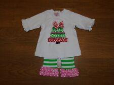 Boutique Mud Pie pink, green, red polka dot & stripe ribbon Christmas set 0-6M