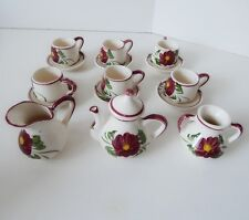 Childs Toy Tea Set Floral Hand Painted Ceramic 16 Pieces 6 Cups & Saucers Retro
