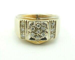 14k White Gold 0.20 Carat Diamond Cluster Men's Ring Size 9