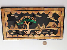 Straw picture Oriental landscape swimming birds and tree Folk art wall hanging