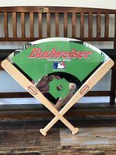 Rare Vintage Budweiser Official Beer Of Mlb Large Baseball Diamond Mirror Sign.
