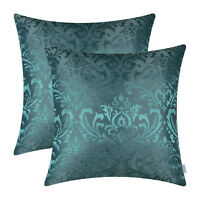 2Pcs Teal Cushion Covers Pillows Shells  Damask Florals Home Sofa Decor 18 X 18""