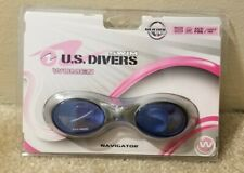 US Divers Adult Women's Swim Goggles (Blue) Silicone Strap Navigator U.S. Lady