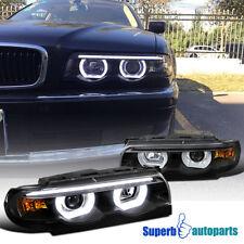 1995-2001 BMW E38 7-Series Euro Black Projector Headlights Dual Halo LED