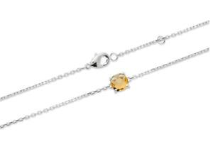 Bracelet Cristal Sertie 4 Griffes Citrine Dorée Argent Massif 925/1000 Rhodié