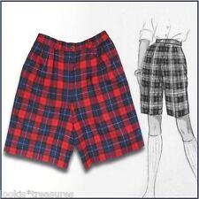 Vintage Pendleton petite red blue plaid 100% wool pleated shorts sz 8