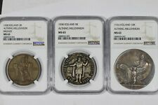 1930 Iceland Althing Millennium 3 Coin Set 2k,5k,10k NGC MS63 MS63 MS62