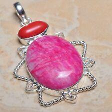"Handmade Cherry Ruby Natural Gemstone 925 Sterling Silver Pendant 2.5"" #F00002"