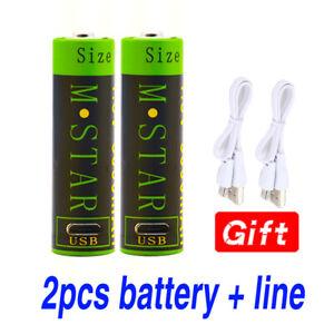 2pcs 1.5V AA Li-Ion Battery 3000mAh Li-polymer rechargeable lithium + USB Cable