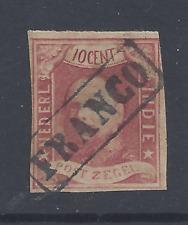 NETHERLANDS INDIES 1864 10c CARMINE IMPERFORATE USED  SG 1