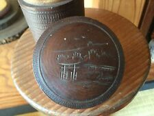 Japanese wooden teacaddy, carved small TORII design - 11cm tall