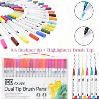 100 Colour Brush Pens Set Dual Tips Soft Fine Art Markers Drawing Watercolour