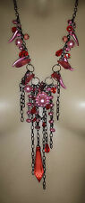 PEARLS, BEADS AND CHAINS LONG FASHION NECKLACE 'PINK'