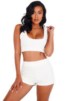Sexy white fuzzy crop top and botty short set