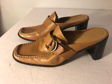 FRANCO SARTO heels shoes mules clogs leather tan womens sz 8.5  EUC  B16