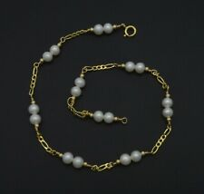 Pearl Beaded Anklet bracelet 9- 10'' New Exquisite 14K Solid Gold 4mm Natural
