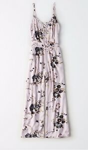 AE Wide Leg Crop Leg Jumpsuit Sz Small Lavender Strapy Neck With Pockets NWOT