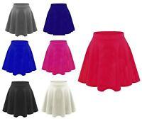 Girls New Kids Flared Plain High Waist Flippy Short Mini Skater Skirt