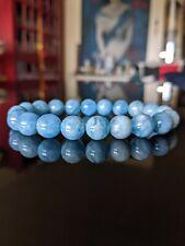 "Natural Brazilian AQUAMARINE Bead Bracelet for Men Stretch 10mm 7"" 7.5"" 8"" 8.5"""