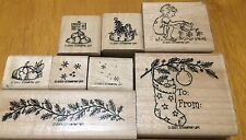 7 Stamps 2001 Retired Stampin Up Wood Rubber Mounted Christmas Winter