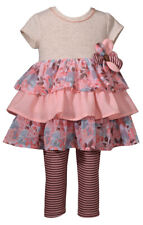 Bonnie Jean Super Cute Coral Ruffled Dress and Striped Leggings Set,12M-4T