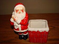 Vintage Christmas Large CANDLE Candy HOLDER PLANTER Santa Claus Chimney w/Bag
