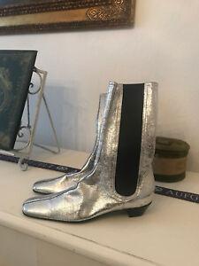 Sigerson Morrison Barbarella Boots, US9, EU 40.5, silber, NEW, Blogger