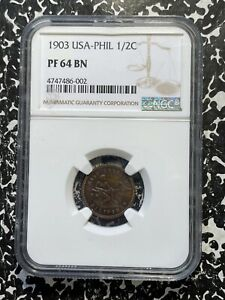 1903 U.S. Philippines 1/2 Centavo NGC PR64 Brown Lot#A216 Nice Proof!