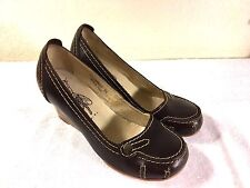 FLY GIRL BROWN  LEATHER WEDGE HEEL SHOES size 38 NICE!