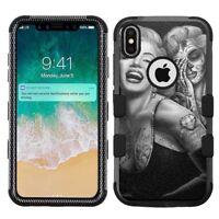 "iPhone XR (6.1"") Hard+Rubber Rugged Case Marilyn Monroe #Skull"