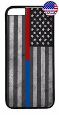 Thin Blue & Red Line Police Firefighter Case Cover For iPhone 7 6 6s Plus 5 5c 4