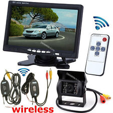 "7"" Color TFT LCD Monitor Car Rear View System + Wireless 18LEDs IR Backup Camera"