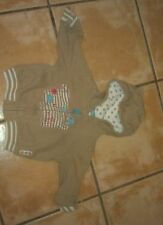Baby boys beige fleece from Tu with teddy bear hood - size 12-18 months