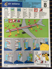 Air Astana Airlines Boeing 757-200 Safety Card NEW Kazakhstan