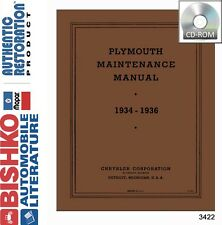 1934 1935 1936 Plymouth Service Repair Shop Manual DVD