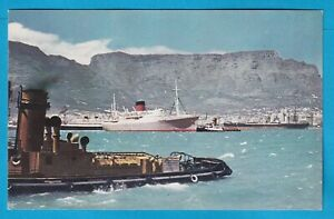 Original Postcard Union Castle Line MAILBOAT IN Table Bay South Africa