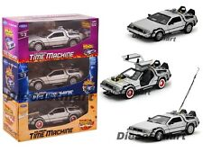 "DELOREAN TIME MACHINE SET ""BACK TO THE FUTURE 1,2,3"" TRILOGY PACK 1:24 SET OF 3"